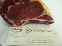 Holiday Gift Certificates available at Overland Meat & Seafood Co., Lake Tahoe