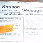 Venison Sausage with Merlot Wine and Blueberries